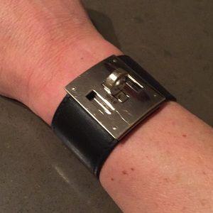 Hermes Kelly black leather bracelet